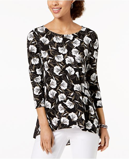 Petal Alfani Small Sleeve 3 Macy's Graphic for 4 Petite Top Printed Created g6rSPg