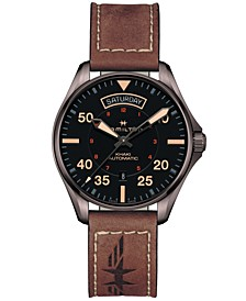 Men's Swiss Automatic Khaki Pilot Brown Leather Strap Watch 42mm