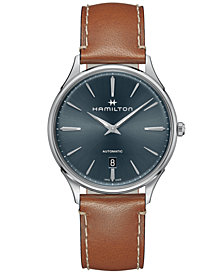 Hamilton Men's Swiss Automatic Jazzmaster Thinline Brown Leather Strap Watch 40mm