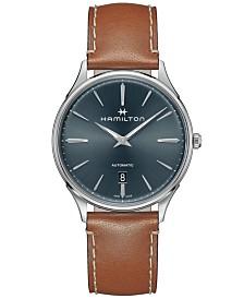 Hamilton Men's Swiss Automatic Jazzmaster Thinline Brown Leather Strap Watch 40mm