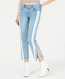Rewash Juniors' Striped Snap-Side Jeans