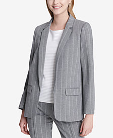 Calvin Klein One-Button Pinstriped Blazer