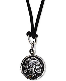 "King Baby Men's Chief Disc Black Cord 24"" Pendant Necklace in Sterling Silver"