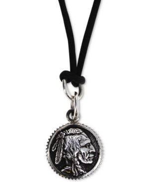 """KING BABY Men'S Chief Disc Black Cord 24"""" Pendant Necklace In Sterling Silver"""