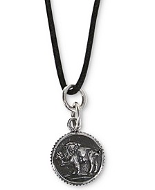 "Men's Buffalo Coin-Look Black Cord 24"" Pendant Necklace in Sterling Silver"
