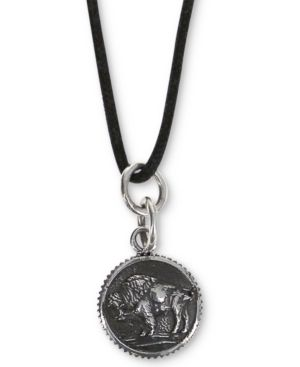 """KING BABY Men'S Buffalo Coin-Look Black Cord 24"""" Pendant Necklace In Sterling Silver"""