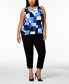 Nine West Plus Size Printed Shell & Slim-Leg Pants