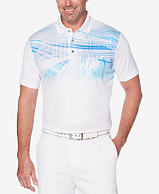 PGA TOUR Men's Pro Series Motion Double-Knit Pixelated Palm-Print Performance Polo