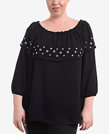 NY Collection Plus Size Ruffle Off-The Shoulder Top