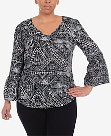 NY Collection Plus Size Printed Bell Sleeve Top