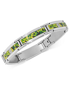 Men's Diamond & Camouflage Print Film Link Bracelet (1/10 ct. t.w.) in Stainless Steel