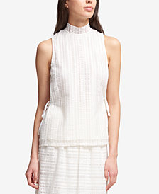 DKNY Mock-Neck Tie-String Top