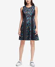 DKNY Printed Fit & Flare Dress