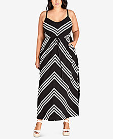 City Chic Trendy Plus Size Chevron-Stripe Maxi Dress