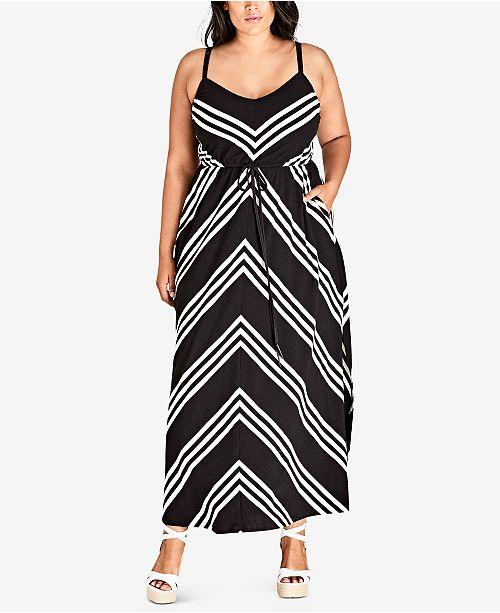 City Chic Trendy Plus Size Chevron-Stripe Maxi Dress & Reviews ...