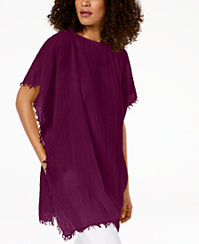 Eileen Fisher Organic Cotton Fringe-Trim Poncho