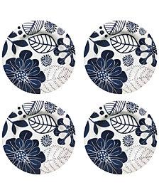 Jay Imports Floral Melamine Salad Plates, Set of 4