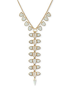 "Lucky Brand Gold-Tone Stone Lariat Necklace, 18"" + 2"" extender"