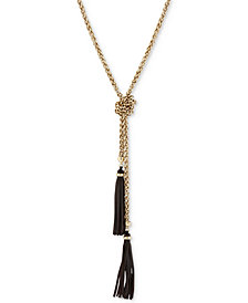 """Lucky Brand Gold-Tone Tassel 38-1/2"""" Lariat Necklace"""