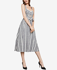 BCBGMAXAZRIA Stripe Cutout Midi Dress
