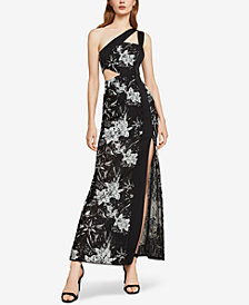 BCBGMAXAZRIA One-Shoulder Floral Lace Gown