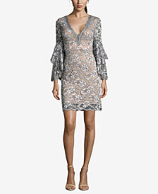 Betsy & Adam Lace Bell-Sleeve Plunge Dress