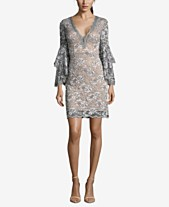 e885a1497be Betsy   Adam Lace Bell-Sleeve Plunge Dress