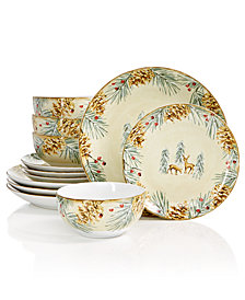 222 Fifth First Snow 12-Pc. Dinnerware Set