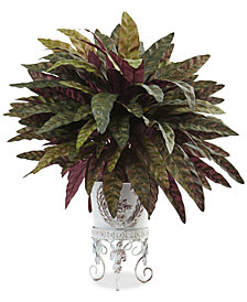 Nearly Natural 2' Peacock Artificial Bush in Metal Planter