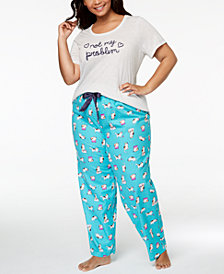 Jenni by Jennifer Moore Plus Size Embroidered-Graphic Pajama Top & Printed Pajama Pants Sleep Separates, Created for Macy's