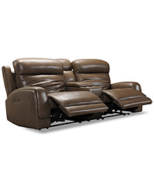 "Winterton 95"" 3-Pc. Leather Power Reclining Sofa With 2 Power Recliners, Power Headrests, Lumbar, Console & USB Power Outlet"