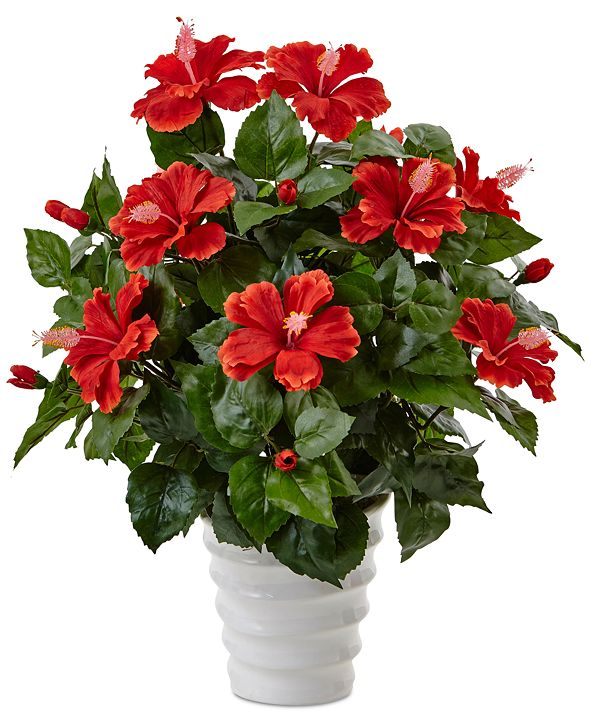 Nearly Natural Hibiscus Artificial Flowering Plant in Swirl Planter
