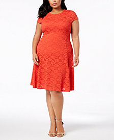 Alfani Plus Size Lace Fit Flare Dress Created For Macys