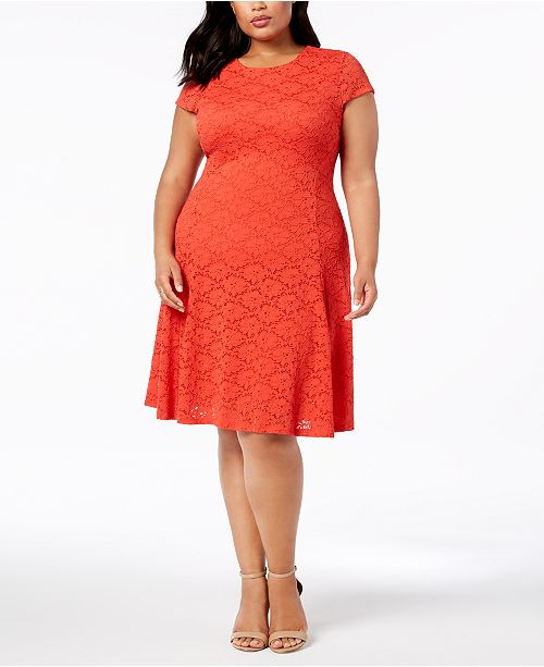 Alfani Plus Size Lace Fit & Flare Dress, Created for Macy\'s ...