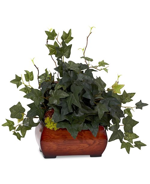 Nearly Natural Puff Ivy Artificial Plant in Chest Planter