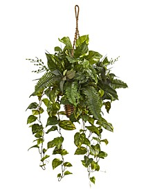 Mixed Pothos and Boston Artificial Arrangement Fern in Hanging Basket