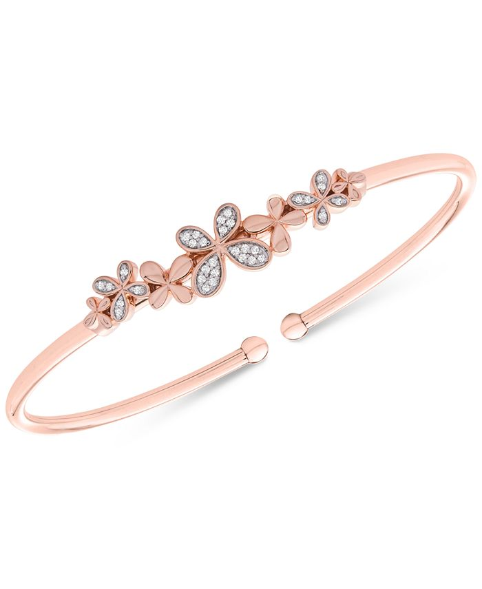 Wrapped - Diamond Butterfly Flexie Bangle Bracelet (1/6 ct. t.w.) in 14k Rose Gold-Plated Sterling Silver