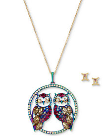 "Betsey Johnson Two-Tone Multi-Stone Gemini Zodiac Pendant Necklace & Stud Earrings Set, 21-1/2"" + 3"" extender"