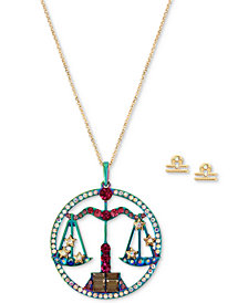 "Betsey Johnson Two-Tone Multi-Stone Libra Zodiac Pendant Necklace & Stud Earrings Set, 21-1/2"" + 3"" extender"