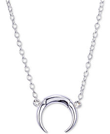 "Unwritten Crescent Horn 18"" Pendant Necklace in Sterling Silver"
