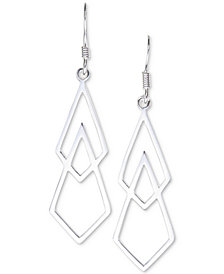 Unwritten Open Geometric Drop Earrings in Sterling Silver