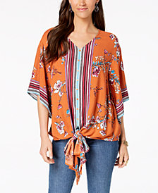 Style & Co Printed Tie-Front Shirt, Created for Macy's