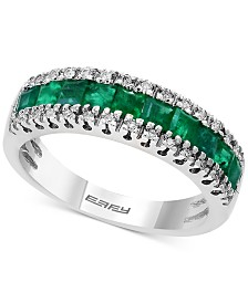 Brasilica by EFFY® Emerald (1-1/8 ct. t.w.) & Diamond (1/8 ct. t.w.) Band in 14k Gold