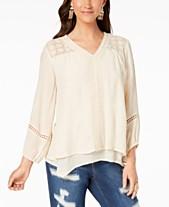071be29245b Style & Co Lace-Yoke Handkerchief-Hem Top, Created for Macy's