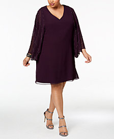 Betsy & Adam Plus Size Embellished-Sleeve Shift Dress