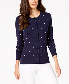 Charter Club Dot-Print Cardigan, Created for Macy's