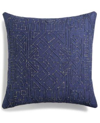 "Dori Embroidered 18"" Square Decorative Pillow, Created for Macy's"