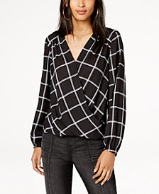I.N.C. Printed Faux-Wrap Top, Created for Macy's