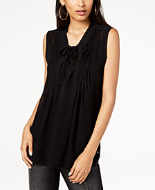 I.N.C. Pleated Lace-Up Top, Created for Macy's