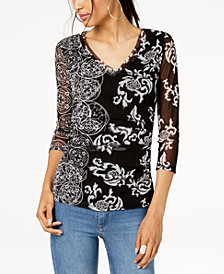 I.N.C. Printed Sheer-Sleeve Top, Created for Macy's